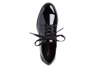 Tamaris Low Patent Brogue Black