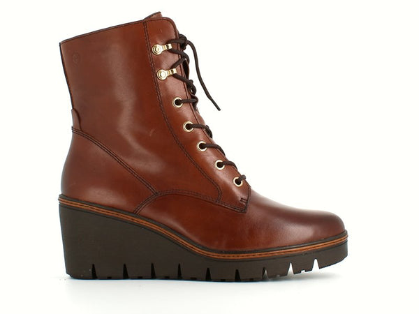Tamaris Laced Wedge Ankle Boot Cognac