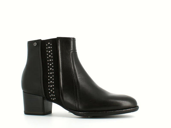 Tamaris Leather Ankle Boot with Studs Black