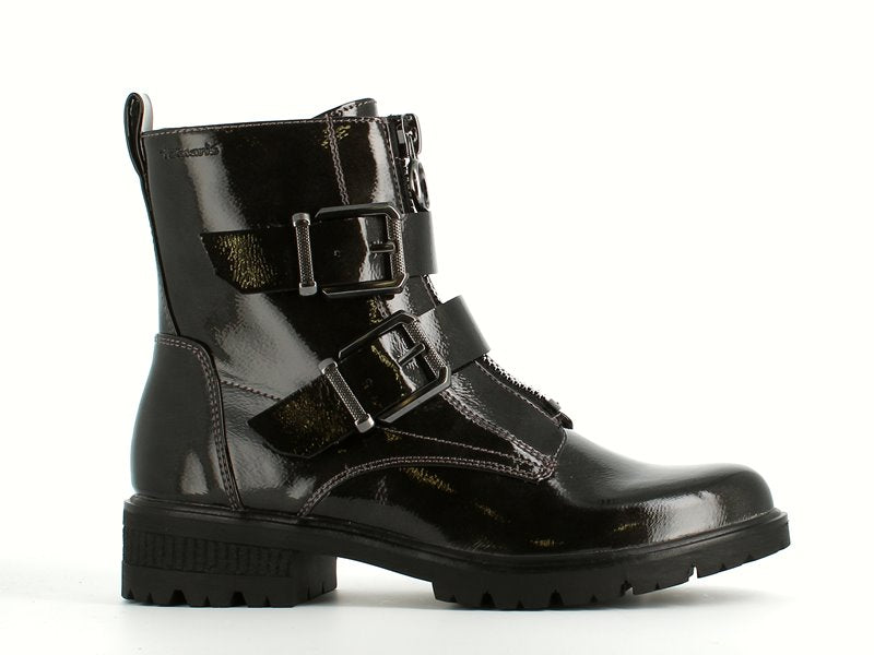 Tamaris Buckle Biker Boot Anthracite Patent