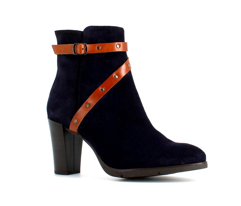 Italian Suede Ankle Boot Navy Tan