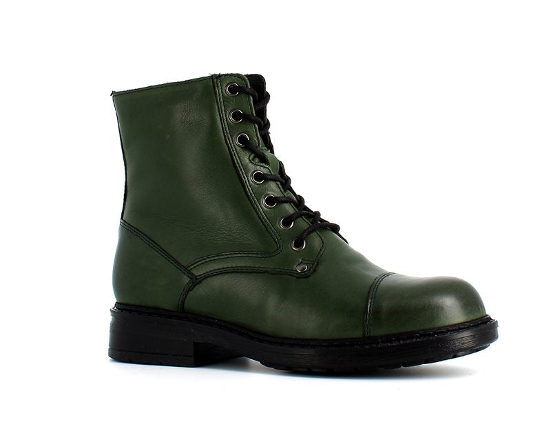 Rizzoli Leather Faux Fur Ankle Boots Green