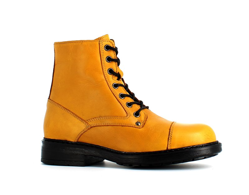 Rizzoli Leather Faux Fur Ankle Boots Mustard