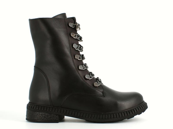 Cinders Chain Biker Boot Black Leather