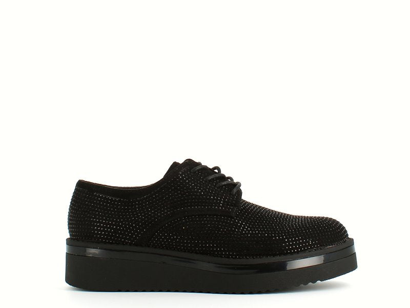 Cinders Edit Laced Brogue Jet Stone Black