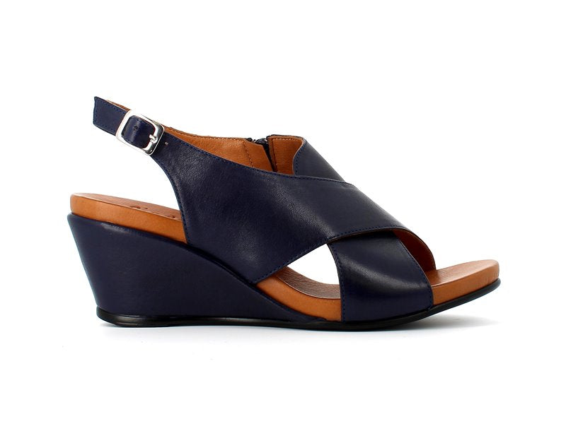 Cinders Leather Criss Sandal Navy