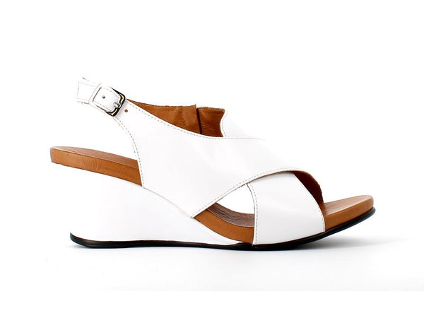 Cinders Leather Criss Sandal White