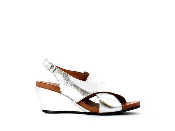 Cinders Leather Criss Metallic Silver Sandal