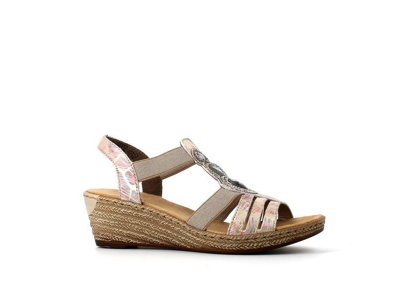 Rieker Wedge Sandal Cristal Multi