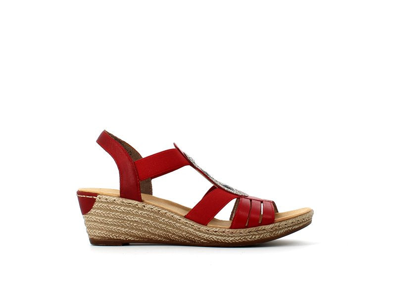 Rieker Wedge Sandal Red
