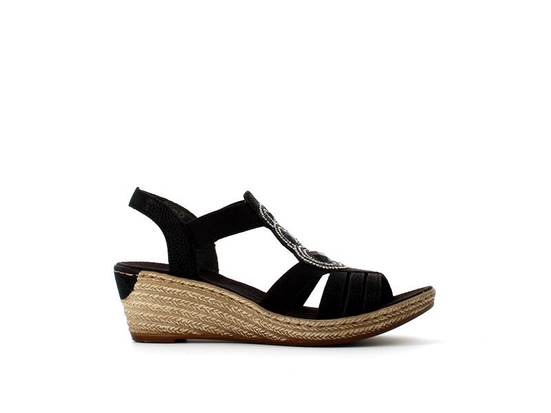 Rieker Wedge Sandal Black