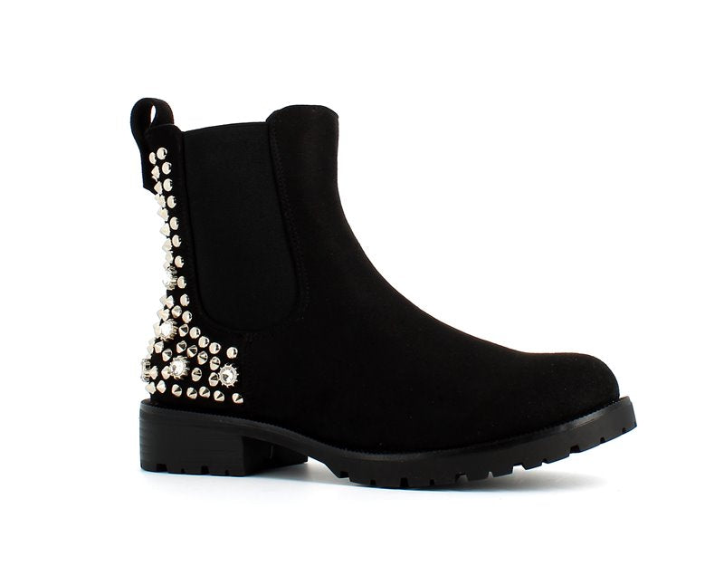 Cinders Dia & Stud Boot Black