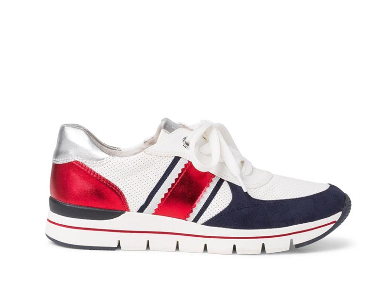 Marco Tozzi Casual Trainer White/Navy/Red
