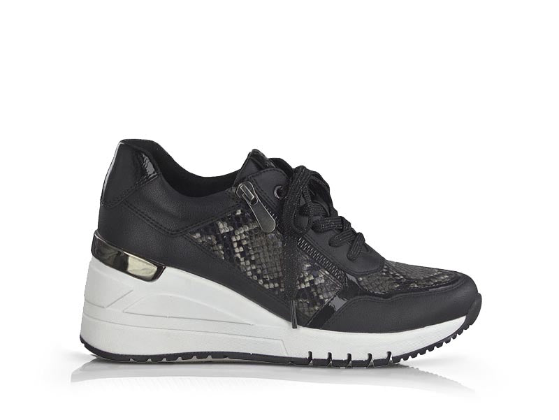 Marco Tozzi Wedge Trainer Snake Print Black