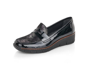 Rieker Classic Patent Loafer Black
