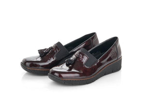 Rieker Toggle Loafer Patent Burgundy