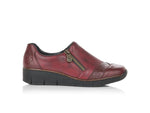 Rieker Low Wedge with Side Zipper Burgundy