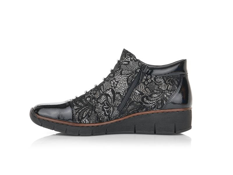 Rieker Wedge Ankle Boot with Lace Detail
