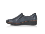 Rieker Classic Loafer in Navy with Dark Tan Trim.