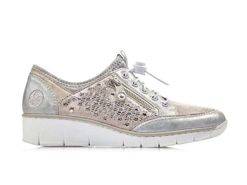 Rieker Metallic Trainer Silver/Rose