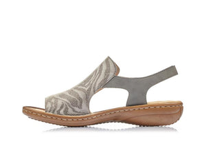 Rieker Animal Print Sandal Cement