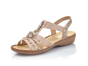 Rieker Low Strappy Sandal Crystal Rosa