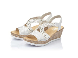 Rieker Floral Wedge White