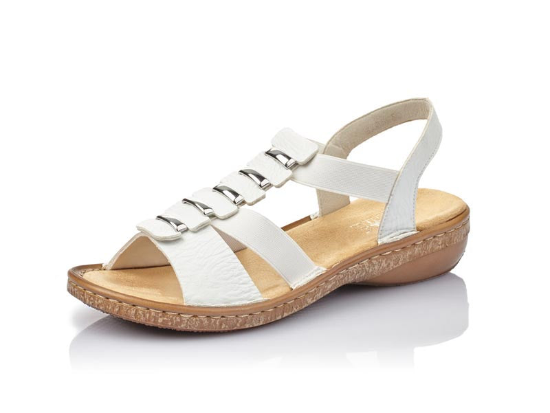 Rieker Low Sandal White with Trim