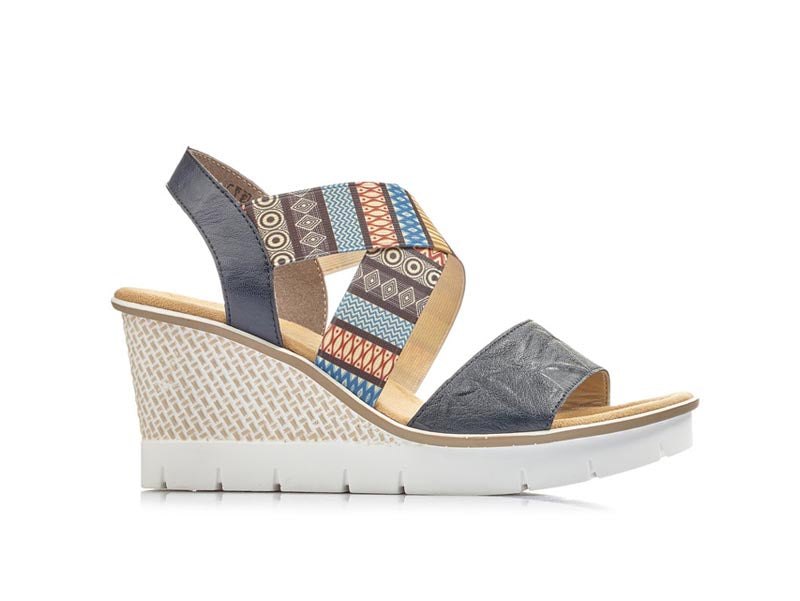 Rieker Wedge Sandal Blue Multi Print