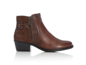 Rieker Classic Ankle Boot with Heel Brown