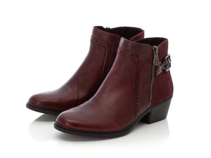 Rieker Classic Ankle Boot with Heel Burgundy