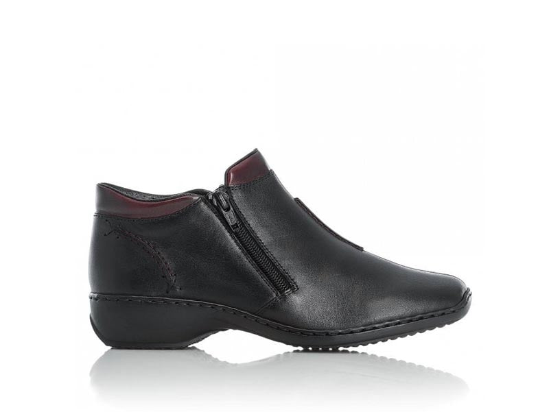 Rieker Ankle Boot Double Zip Black/Burgundy
