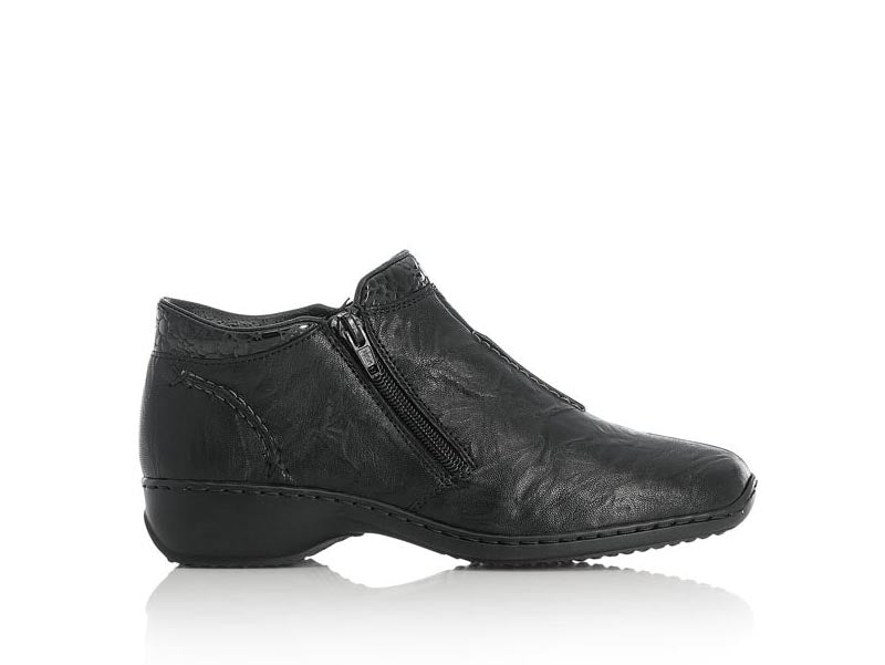 Rieker Zipper Ankle Boot Double Zip Black