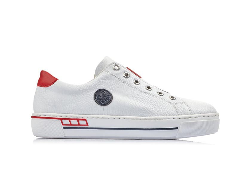 Rieker Oxford Trainer White with Red/Navy trim