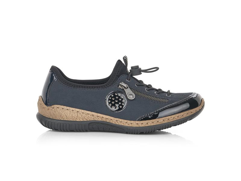 Rieker Trainer Navy/Black with Diamante Trim