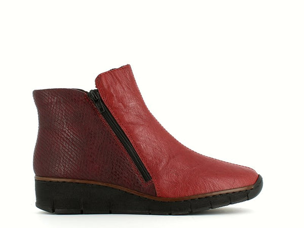 Rieker Ankle Boot Burgundy Snake