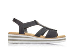 Rieker Sandal with Trim Black