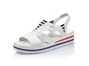 Rieker Low Wedge Sandal White/Navy/Red