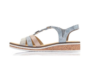 Rieker Low Wedge Sandal Blue Multi