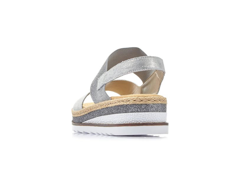 Rieker Low Wedge Glitter Silver