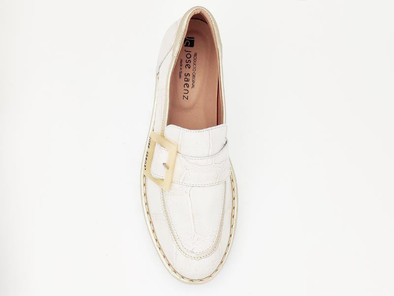 Jose Saenz Loafer with Buckle Champagne Gold