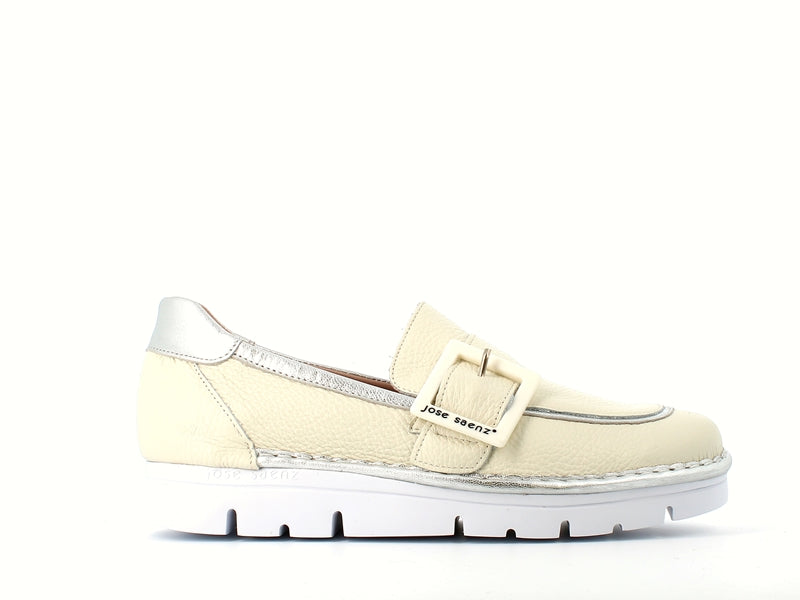 Jose Saenz Loafer with Buckle Cream