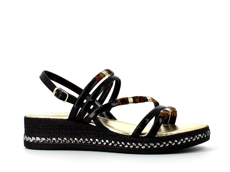 Cinders Edit Wedge Sandal Black Leopard