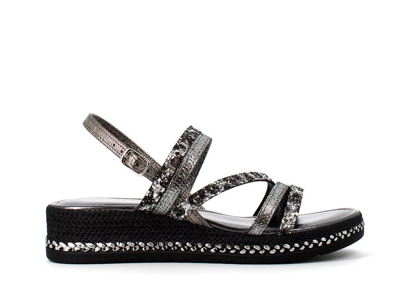 Cinders Edit Wedge Sandal Pewter Glitter