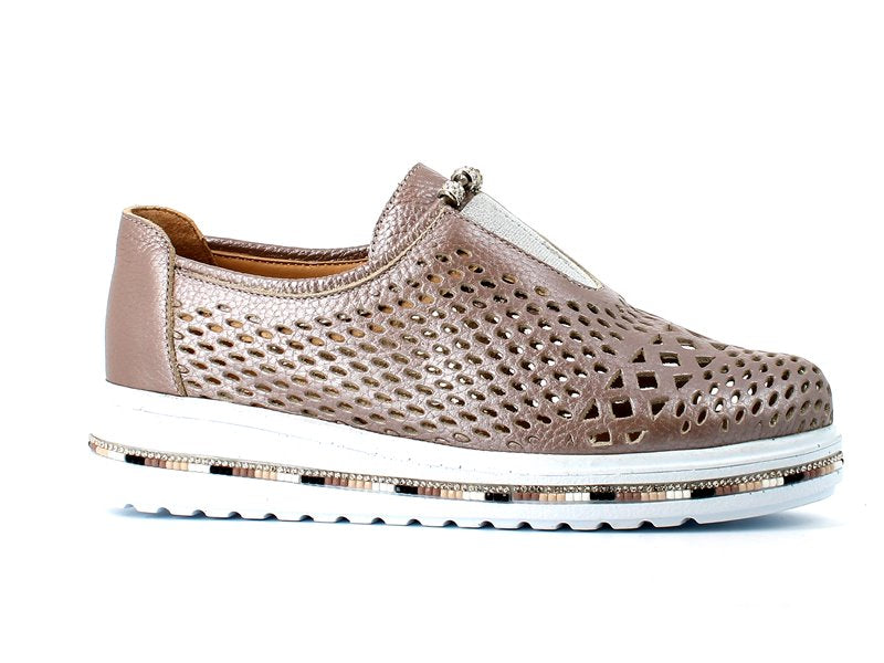 Cinders Summer Brogue Diamante Pewter