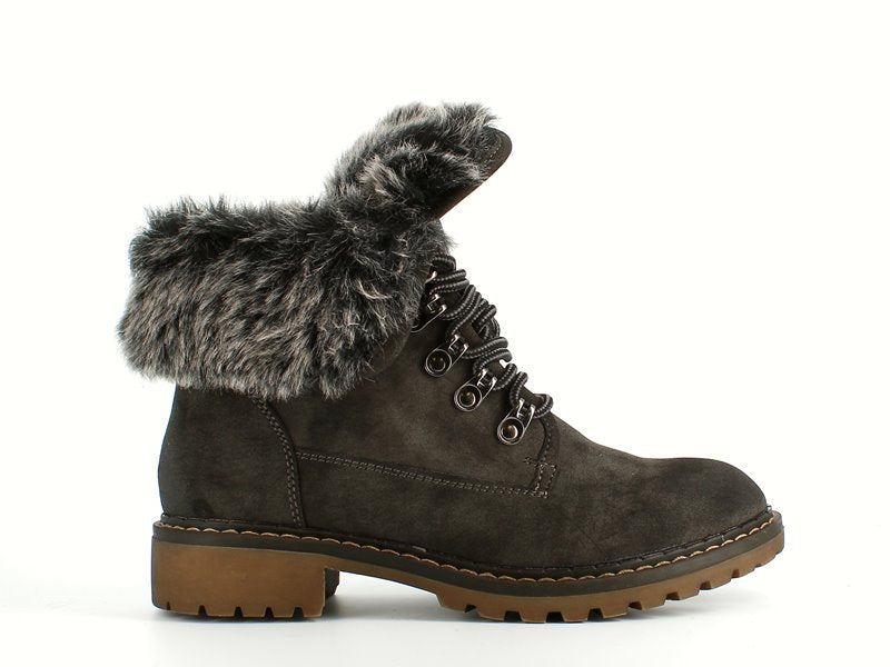 Jet Laced Ankle Boot Fur Anthracite
