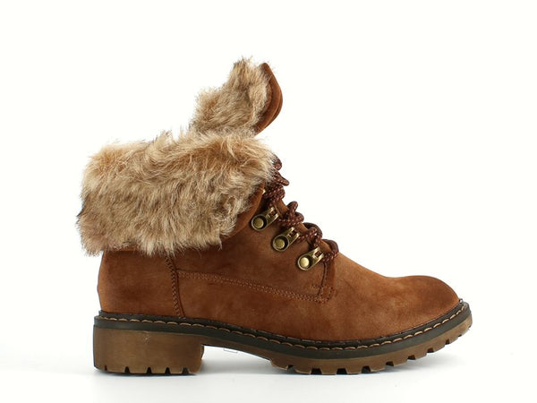 Jet Laced Ankle Boot Fur Camel
