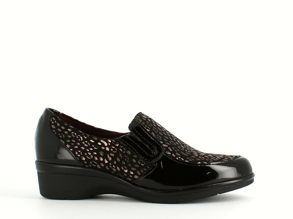 Pitillos Patent Mix Black Wedge Shoe
