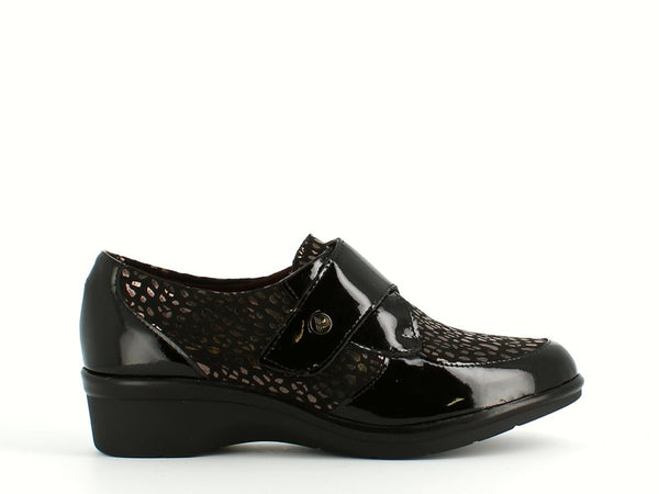 Pitillos Velcro Wedge Patent Mix Black