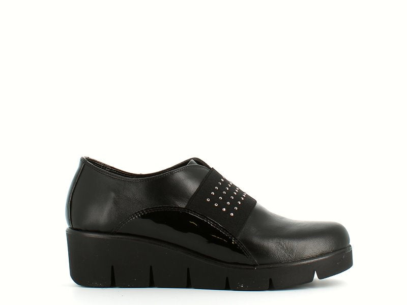 Cinders Edit Italian Leather Wedge Shoe Black